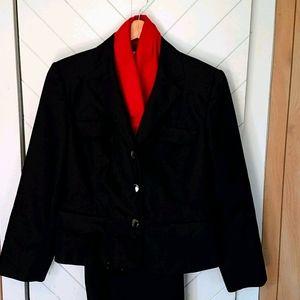 Black denim trouser suit